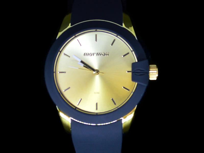 Relógio Mormaii Metal Dourado Pulseira de Borracha